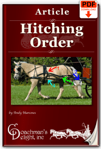 Article on carriage driving hitching sequence.